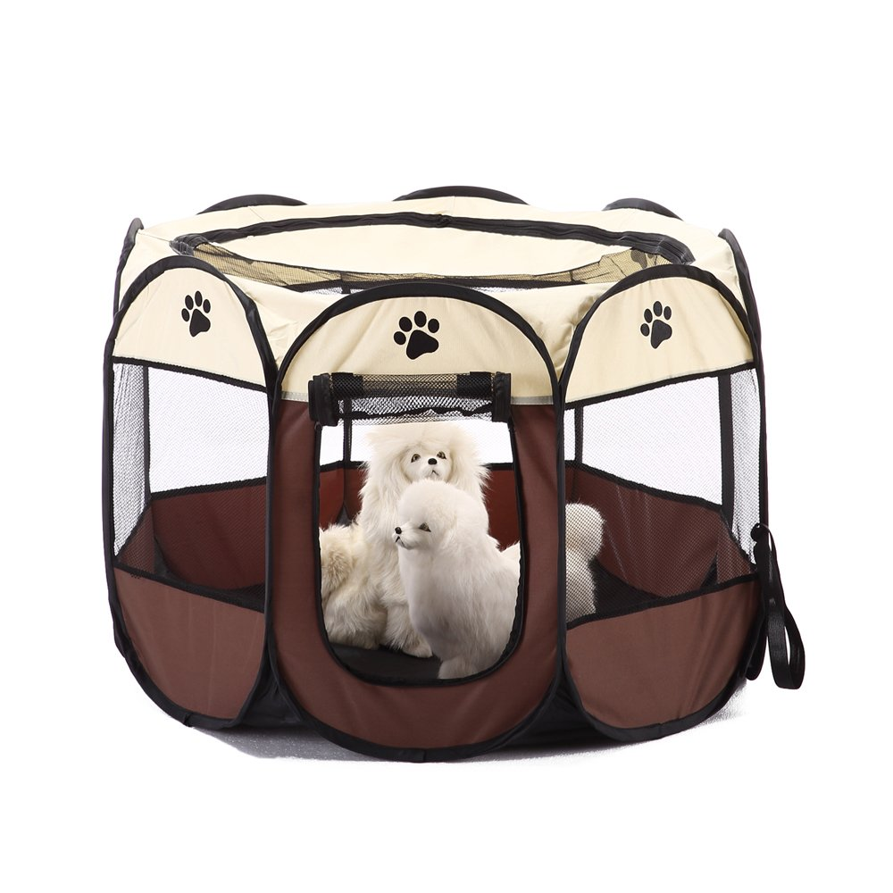 NACOCO Pet Playpen Dog Outdoor House Portable Foldable Fence Crate Kennel for Puppy Cats and Other Animals (Brown)