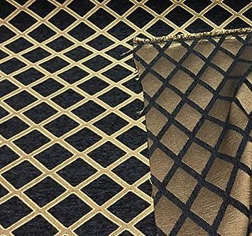 Amazon Com Chenille Damask Print Black Gold Diamond Furniture