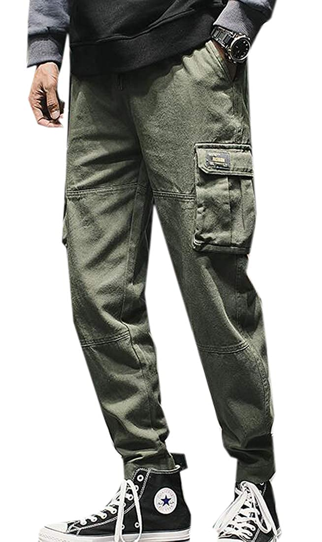 Fubotevic Mens Elastic Waist Solid Hip Hop Casual Multi Pockets Cargo Jogger Pants Trousers