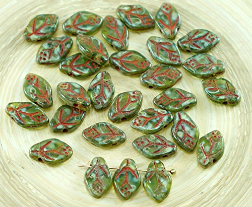 (30pcs Picasso Crystal Green Czech Glass Carved Leaf Flower Beads 7mm x 12mm)