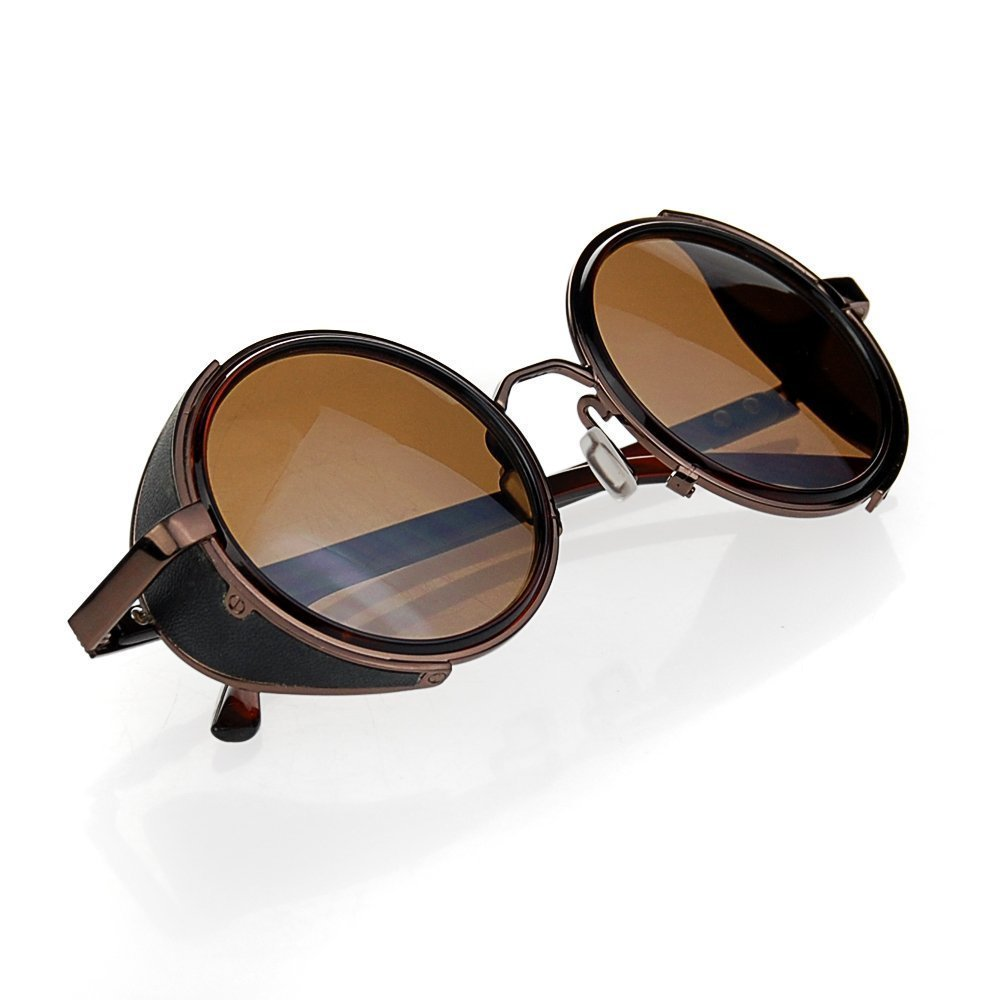 Cyber Goggles Steampunk Sunglasses Vintage Retro Mirror lens Round Glasses Brown Frame Reflective Lens + Hard Protective Eyeglasses Case