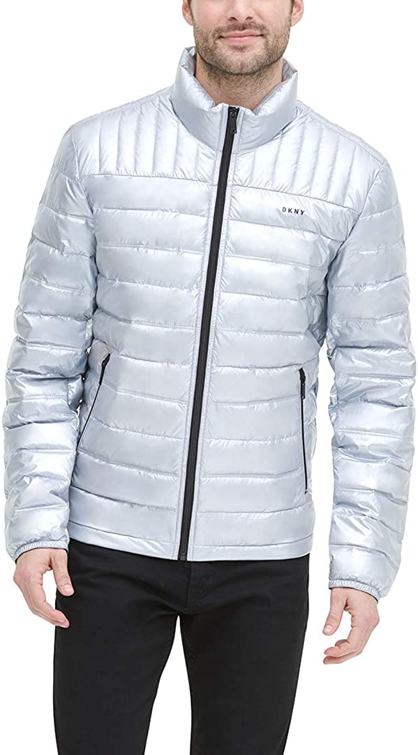 DKNY Mens Water Resistant Ultra Loft Quilted Packable Puffer Jacket Down Alternative Coat