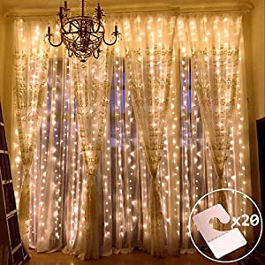 outop window curtain lights 304led 98ft 8 modes fairy lights for party wedding garden home warm white