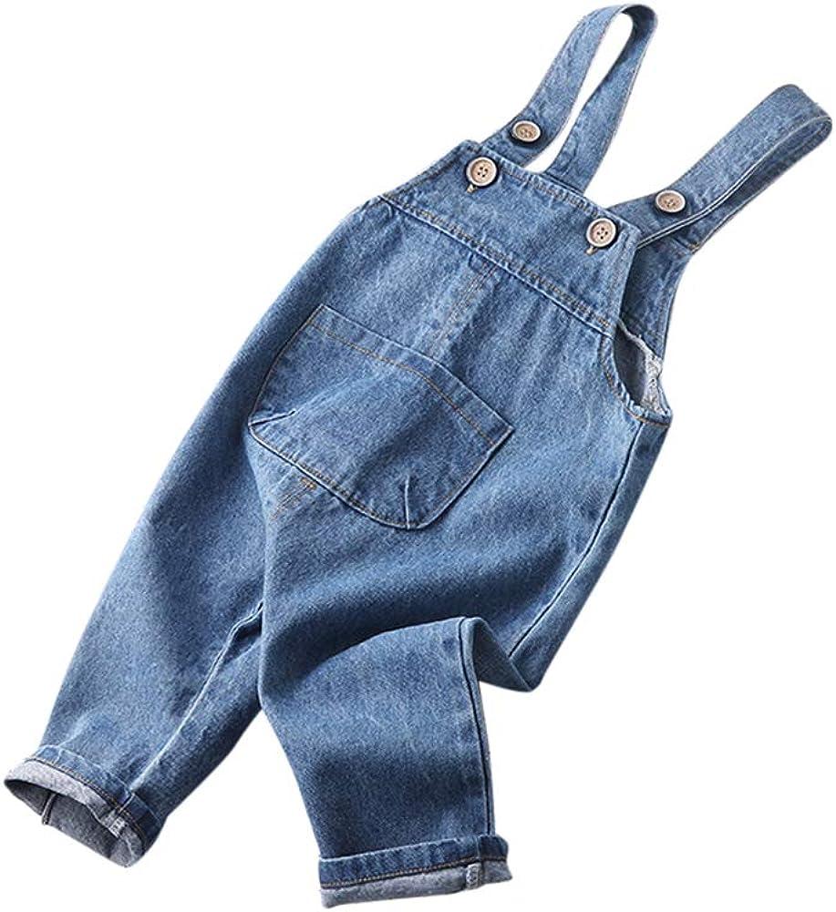 Tempo Libero Ragazza Ragazzo Jeans Tuta Salopette Denim