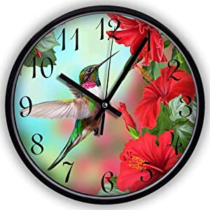 Ja Yhou dontcy Black Vintage Silent Non Ticking Wall Clock - Spring Floral Flower Hummingbird 10 Inch Quality Quartz Battery Operated Personality Fashion Round Home/Office/Classroom/School Clock