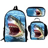 chaqlin - Juego de 3 bolsas de escuela para niños, mochila con bolsa de almuerzo, bolsa de lápices de dinosaurio, lobo…