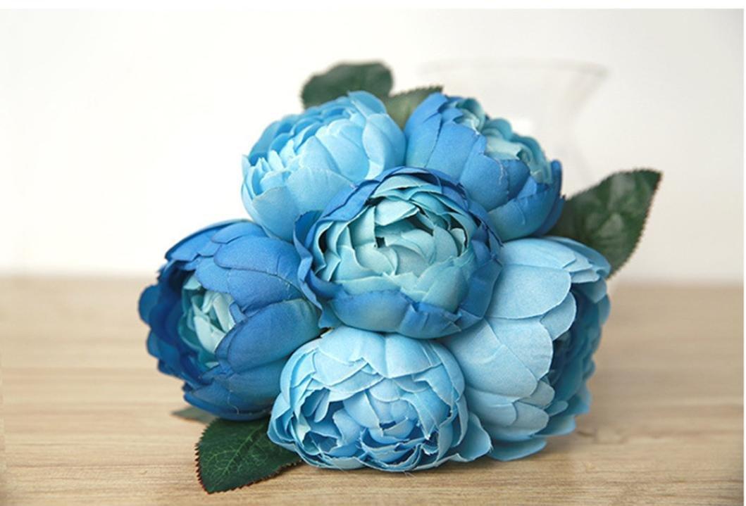 Vovomay Flor Artificial 1 Ramo 6 Cabezas Flor de Peonía Artificial ...