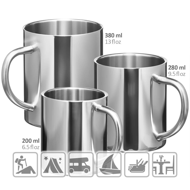 280 ml Caffettiera infrangibile Coppe isolanti a doppia parete com-four/® 2x Tazza da caff/è in acciaio inox Senza BPA Tazza termo-bevente in acciaio inossidabile di alta qualit/à