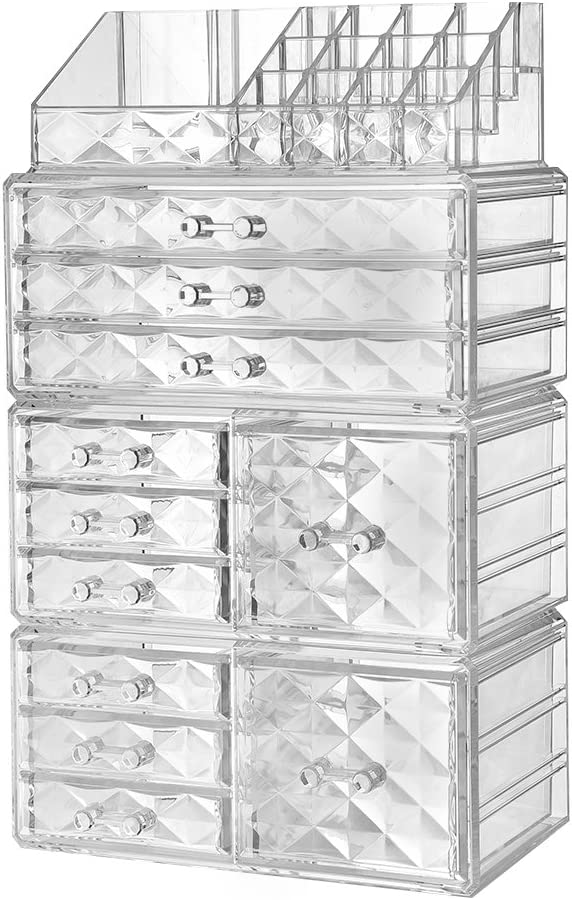 ZHIAI Acrylic Jewelry Makeup Drawer Organizer – Diamond Pattern Clear Cosmetic Storage Set, 6 Small Drawers, 3 Large Drawers and 2 Square Drawers, Great for Bathroom, Dresser, Vanity and Countertop