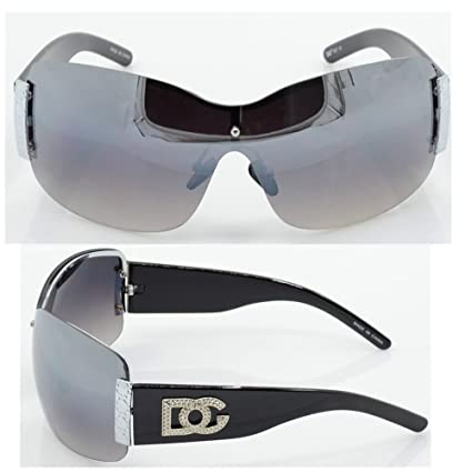 1e540b1b23 Amazon.com  Womens DG Sunglasses Eyewear Designer Shades Color Large Size  Black Silver dg857  Sports   Outdoors