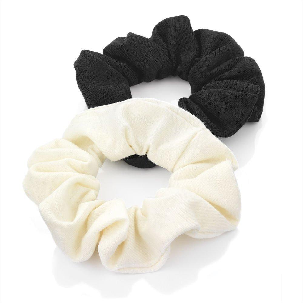 Two Piece Black & Cream Elasticated Jersey Scrunchie Hair Accessory Set 3cm HA26042