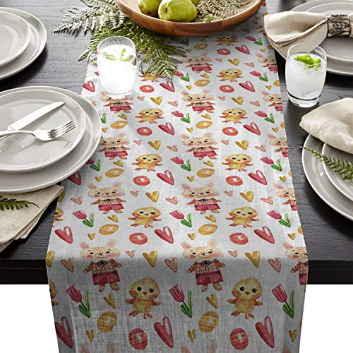 Easter Cotton Linen Table Runners Chick Eggs Rabbits Heart Pattern Chick Eggs Rabbits Heart Pattern Tablecloths for Kitchen Garden Wedding Parties Dinner Home Decorations (13