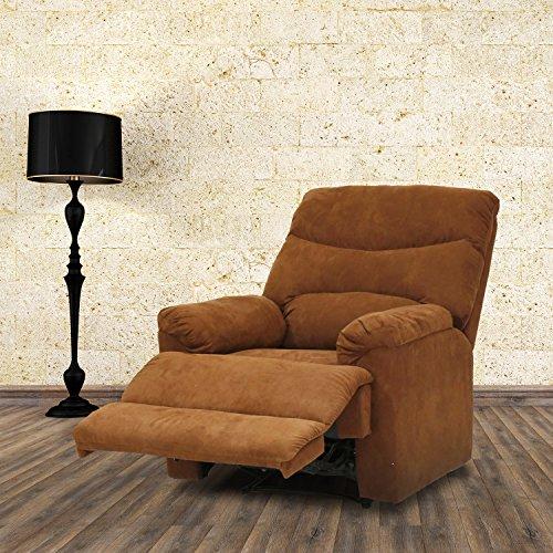 Kinbor Suede Heated Massage Recliner Sofa Chair Ergonomic Lounge with 8 Vibration (Regular Recliner Sofa)