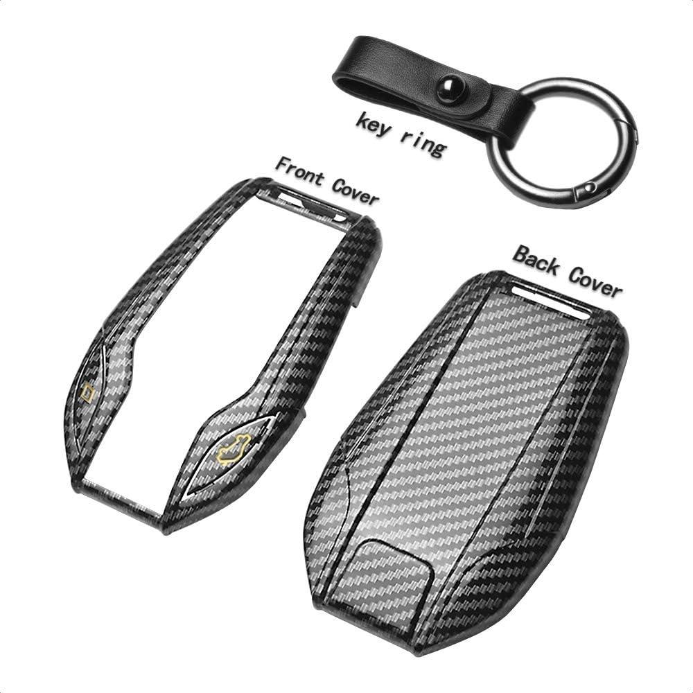 TANGSEN Smart Key Fob Case Cover for BMW 5 Series 528Li 530Li 540Li G30 G31 6 Series GT G11 G12 7 Series 740 X3 G01 i8 3 Button Keyless Entry Remote Gold Label Carbon Fiber Plastic