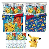 Pokémon 5 Piece Kids Twin Bedding Set - Reversible Comforter, Sheet Set with Reversible Pillowcase and Pikachu Plush