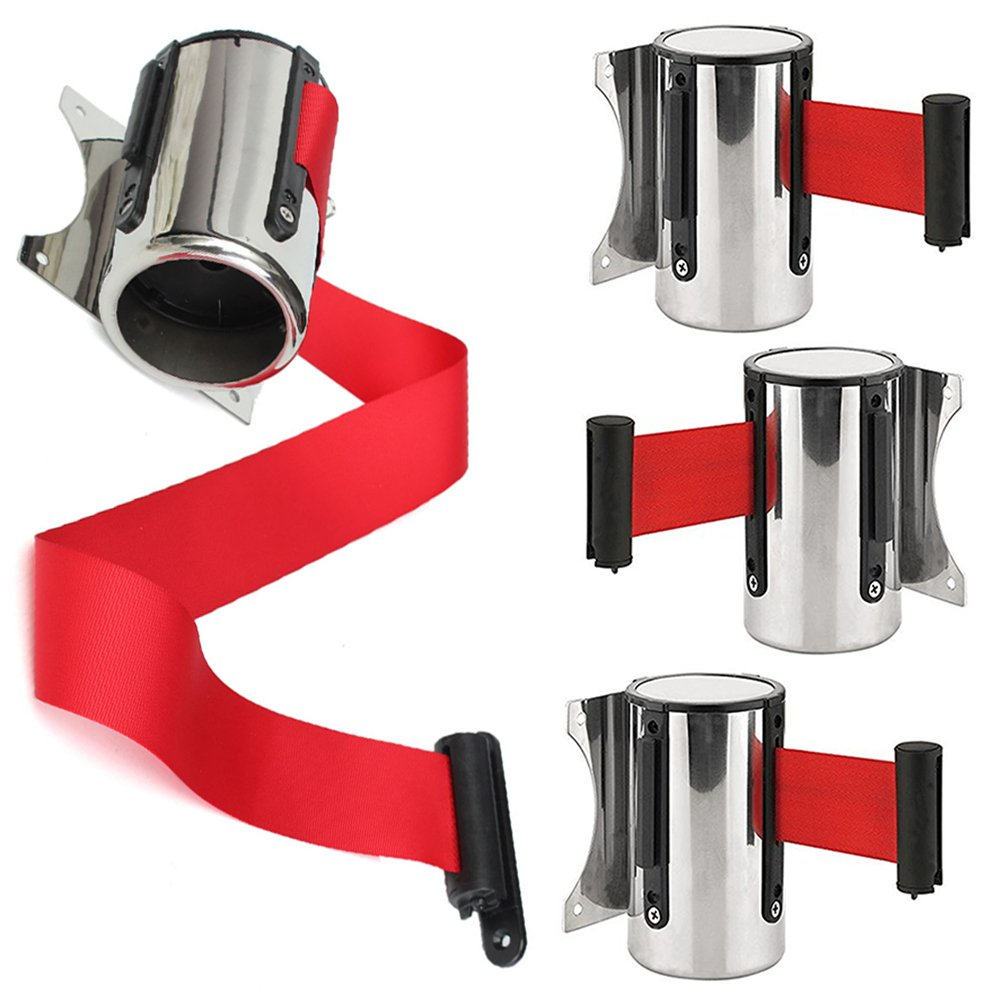 Stainless Steel Wall Mount Safety//Security Retractable Red Ribbon Barrier for Stanchion Queue 1 pc,2m Queue Barrier Belt