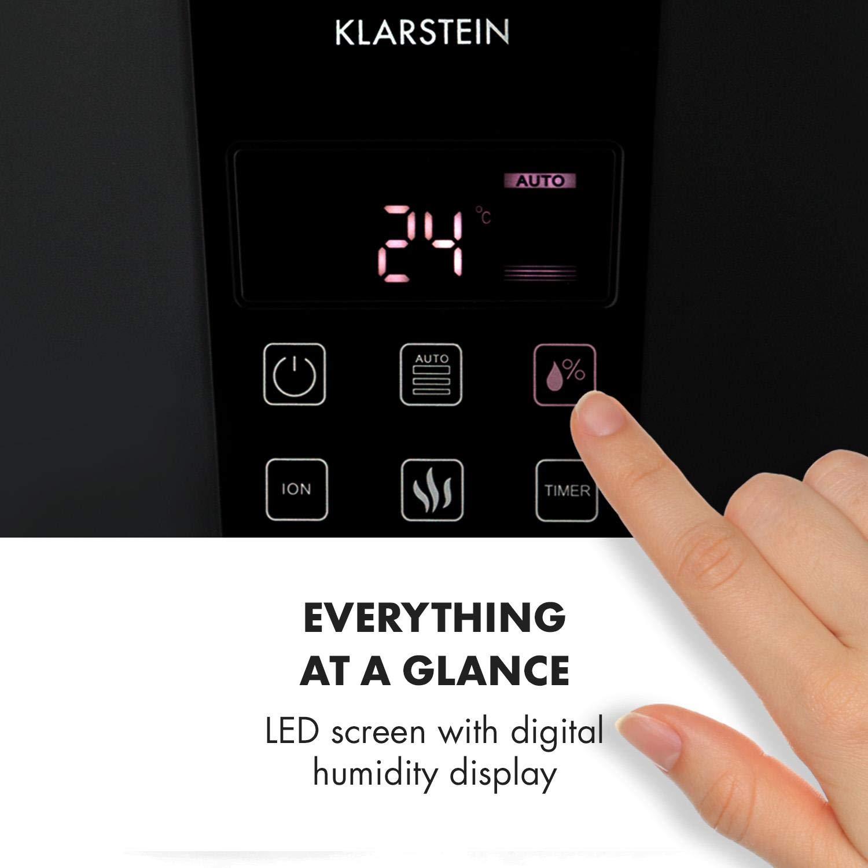 Klarstein VapoAir Onyx Humidificador • Ionizador Adicional • Difusor de Aroma • 350 ML/h • Depósito de 5,5 litros • LED • Temporizador • Autoapagado ...