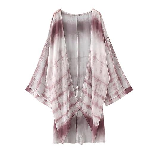 abd3080b3 Permman Women's 3/4 Sleeves Mid Long Floral Chiffon Loose Tops Shawl ...