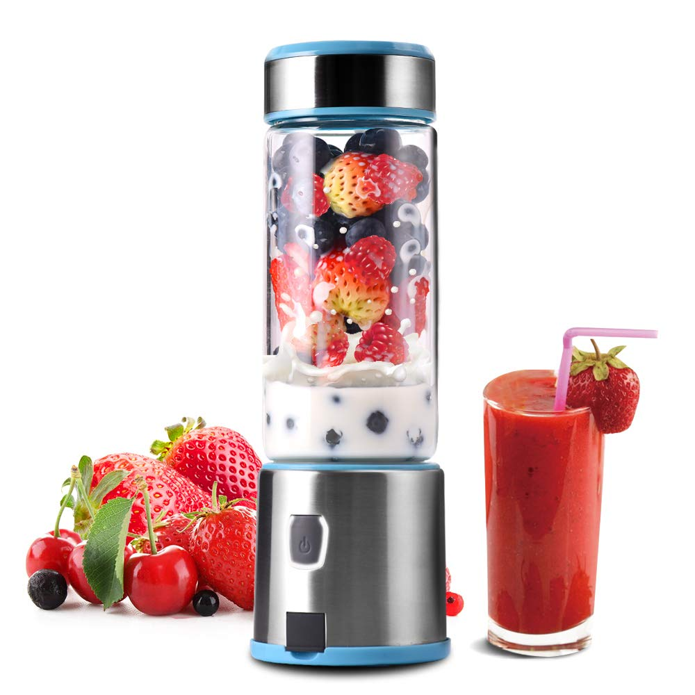 Portable Glass Smoothie Blender, TTLIFE Personal Blender USB Rechargeable, Small Blender Single Serve, Mixer Juicer Cup Travel Blender Cordless with 5200mAh Rechargeable Battery for Shakes and Smoothies, Baby Food, FDA, BPA Free-Blue