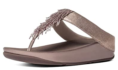 a54e1e0ca47a80 Fitflop Cha Cha Rose Gold Womens Leather Sandals Flip Flops -4 ...