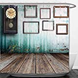 Interestlee Shower Curtain Clock Decor A Vintage Clock and Empty Picture Frames in an Old Room Wooden Backdrop Green and Brown