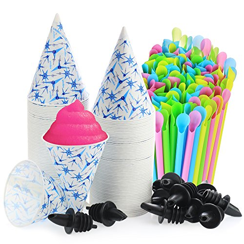 Set of 406- 200 Snow Cone Cups 6 Oz, and 200 Sno-Cone Spoon Drinking Straws, Assorted Neon Colors, and 6 Free Flow - Package For A To Shipping Hat How