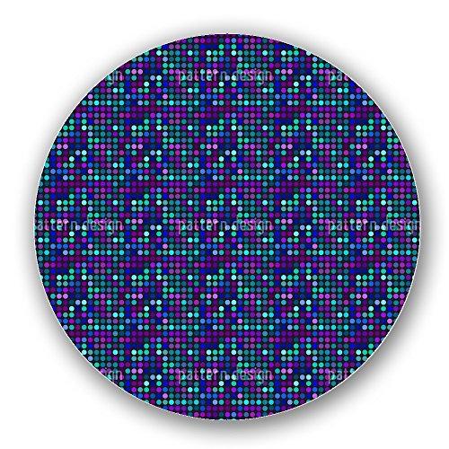 Uneekee Blue Dot Skyline Lazy Susan: Medium, pure birch wooden Turntable Kitchen Storage Aqua Disco Dot