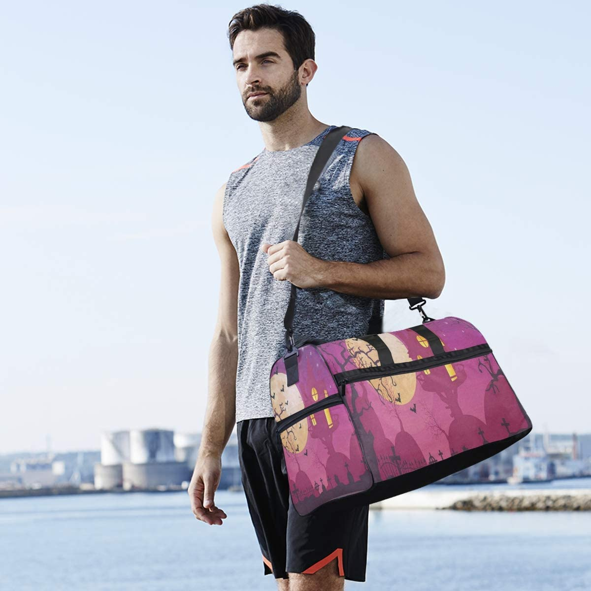 Gym Bag Halloween Moon Party Sport Duffle Holdall Bag Training Handbag Yoga bag for Men Women