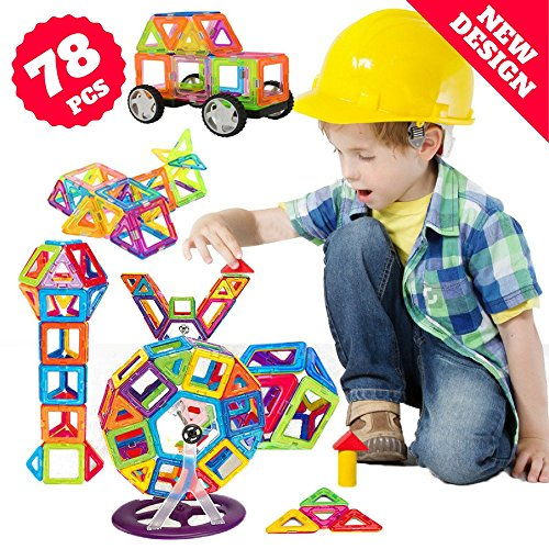 cs Kids Magnetic Building Blocks - Endless Creativity Fun with Magnetic Toys - STEM Stacking Magnetix Toys for Boys Girls ()