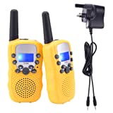 Walkie Talkies, Upgrow RT-388 Kids Walkie Talkie Children Walky Talky PMR446MHz 0.5W 8 Channels Rechargeable 2 Way Radio for Children 2-3 KM Long Range, UK Charger, Built-in LED Torch VOX LCD Display (1 Pair, yellow) ( 8 x AAA battery and UK charger included )