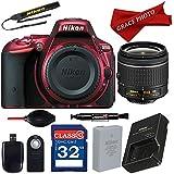 Nikon D5500 (Red) DX-format Digital SLR w/AF-P DX NIKKOR 18-55mm f/3.5-5.6G VR Lens + Accessory Bundle …