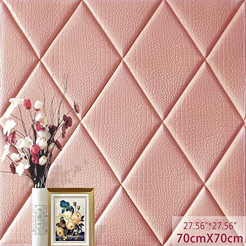 (3D Wall Panel Crocodile Print PE Foam Self-Adhesive,Thickened Peel and Stick Tile backsplash Sound-Proof and Water-Proof (20, Pink))