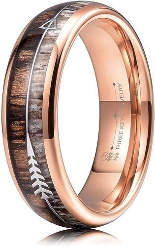Deer Ring Arrow Inlay Wedding Bands Wood Ring Rose Gold Tungsten Carbide Ring