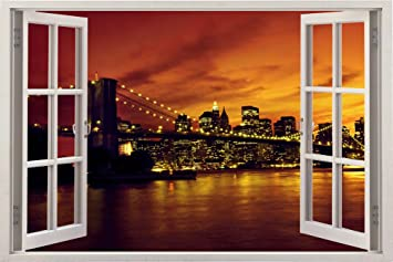 huge 3d vinyl wall decal sticker by bomba deal window frame style high - Window Frame Art