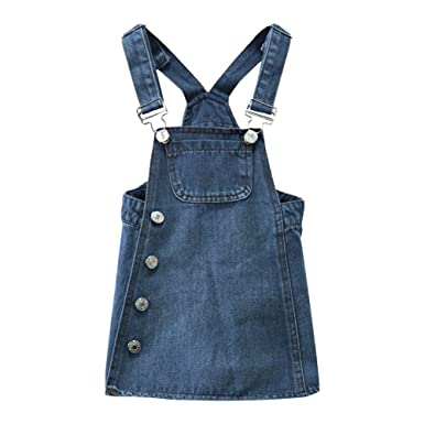 920949cb0c8f BINIDUCKLNG Kids Girls Denim Dungaree Dress  Amazon.co.uk  Clothing