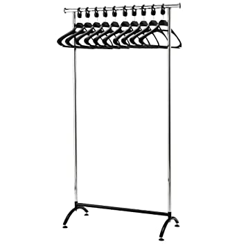 Amazonde Chrom Coat Rack Mit 40 Polypropylen Kleiderbügel Magnificent Commercial Coat Racks