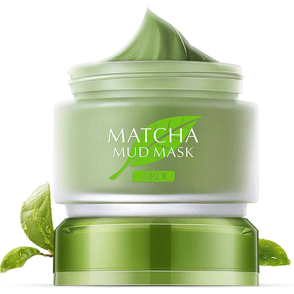 Green Tea Matcha Mud Facial Mask Deep Cleaning Oil-Control Moisturizing Blackhead Remover Anti Acne Lightening & Anti Aging Skin Pore Cleanser Mud
