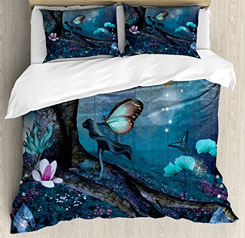 (Lunarable Fantasy Queen Size Duvet Cover Set, Enchanted Forest with Blooming Flowers Mystical Environment Woods Illustration, Decorative 3 Piece Bedding Set with 2 Pillow Shams, Multicolor)