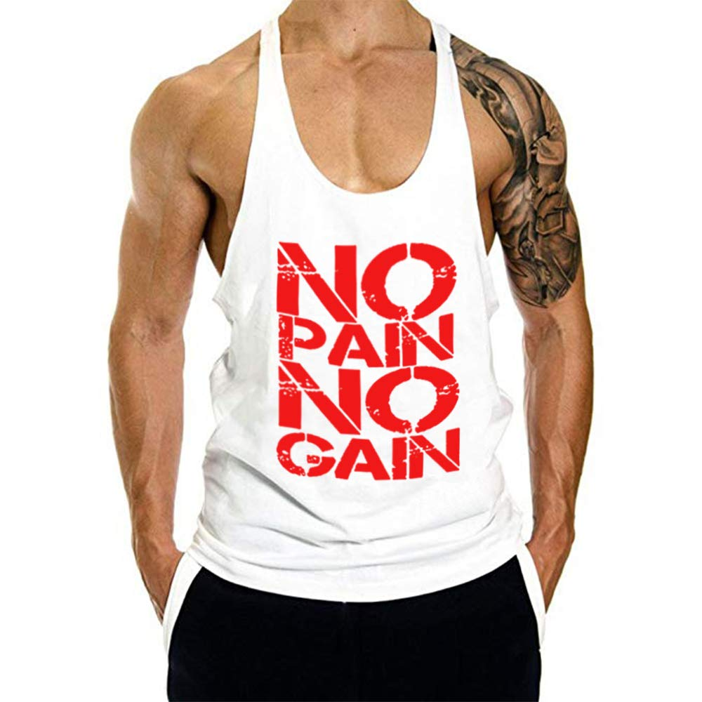 GymRevolution Men's No Pain No GAIN Print Fitness Tank Top Racer Back Vest
