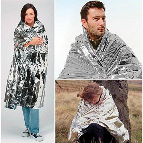 "UBEGOOD Emergency Blanket (Pack of 10), Emergency Mylar Thermal Blankets, Waterproof Foil Emergency Blanket 52"" x 82"" Designed for Survival, Outdoors, Hiking, First Aid (Silver)"