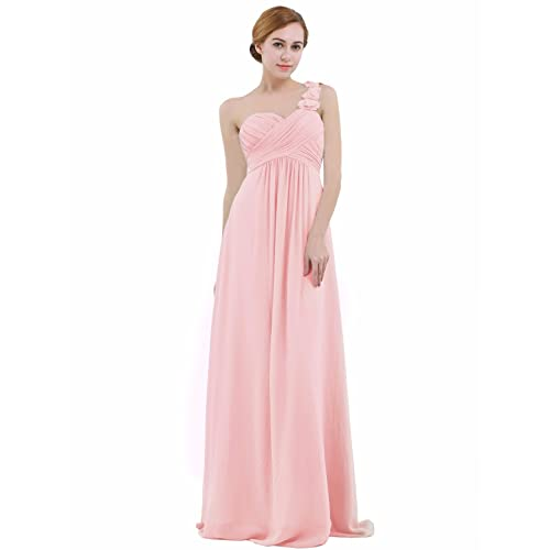 iEFiEL Womens One-Shoulder Chiffon A-line Bridesmaid Maxi Long Evening Party Prom Gown