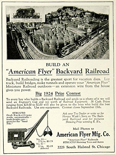 1924 Ad American Flyer Backyard Model Railroad Children Toy Train Structo Crane - Original Print (American Flyer Railroad)