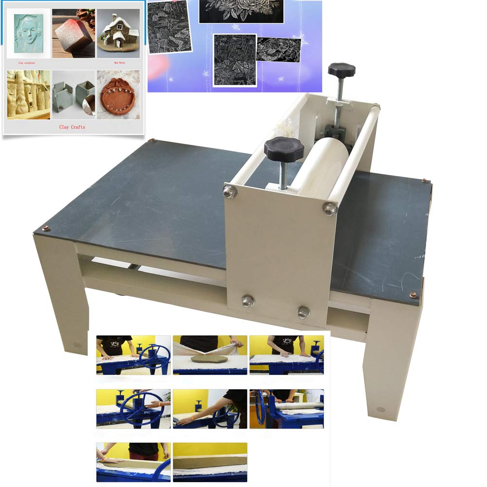 INTBUYING Ceramic Clay Plate Machine Slab Roller for Clay& Heavy Duty& Hand-Cut Table Top &Adjustable&No Shims#300067