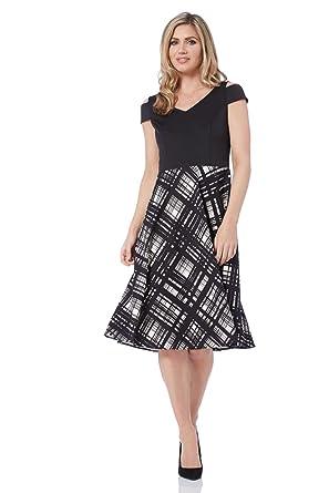 1e162a35d4 Roman Originals Women Check Print Fit and Flare Scuba Little Black Dress -  Ladies Cold Shoulder Knee Length Skater Occasion Wedding Royal Ascot Dresses  LBD: ...
