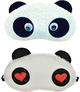 ca4a991be5b 24x7 eMall Soft Fabric Heart Panda Sleeping Eye Mask for Complete Black Out  - Set of