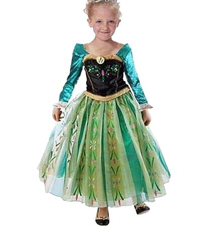 MissFox Traje Princesa Anna Frozen Vestido para Niña