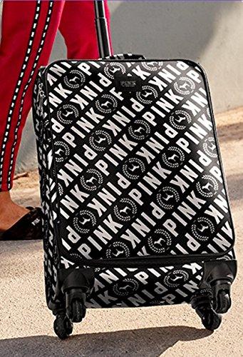 Victoria's Secret PINK WHEELIE Suitcase Carry on Travel Luggage Black & White