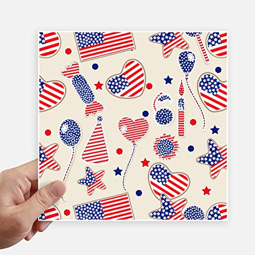 (DIYthinker USA Balloon Candy Heart Flag Star Festival Square Stickers 20cm Wall Suitcase Laptop Motobike Decal 4pcs )