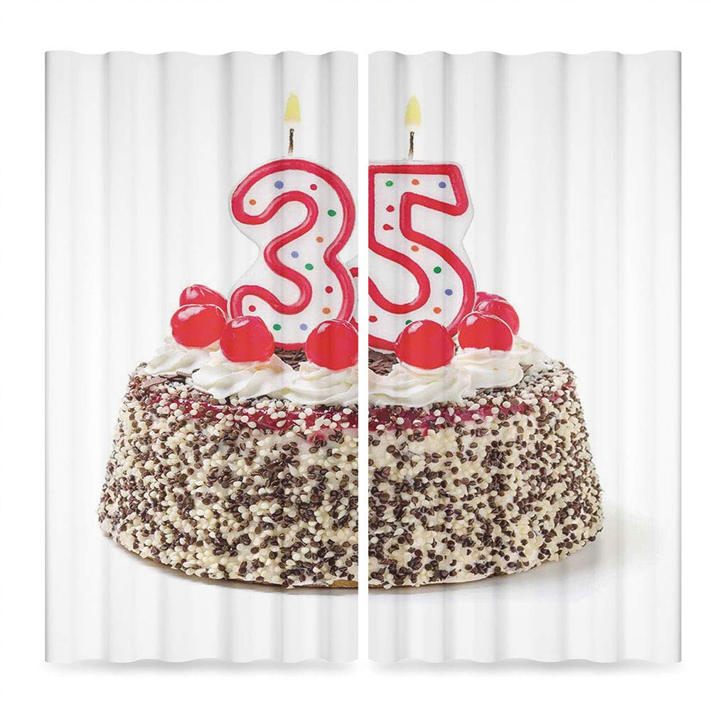 TecBillion Decor Collection,35th Birthday Decorations,for Bedroom Living Dining Room Kids Youth Room,Gourmet Desert Cherry Cake Party Special Day Thirthy Five,196Wx83L Inches by TecBillion (Image #2)