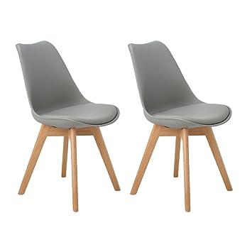 DORAFAIR Pack de 2 sillas escandinava Estilo nórdico Silla de Comedor,Tulip Comedor/Silla de Oficina con Las piernas de Madera de Roble Maciza,Gris